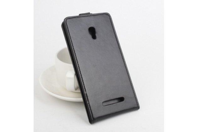 """Фирменный оригинальный вертикальный откидной чехол-флип для Alcatel Pop S9 7050Y черный из натуральной кожи """"Prestige"""" Италия"""