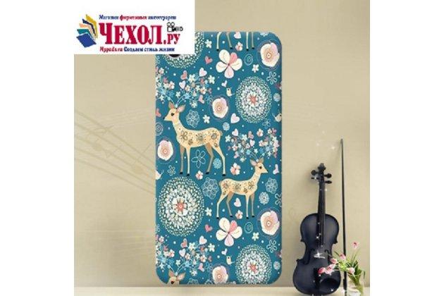 Фирменная роскошная задняя панель-чехол-накладка  из мягкого силикона с безумно красивым расписным 3D рисунком Оленя в цветах на Alcatel A5 Led 5058D / 5085Y 5.2
