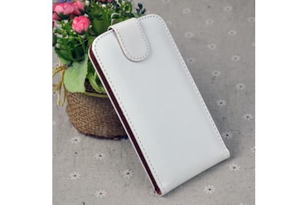 Фирменный оригинальный вертикальный откидной чехол-флип для Alcatel A5 Led 5058D / 5085Y 5.2 белый из натуральной кожи Prestige