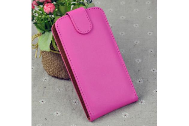 Фирменный оригинальный вертикальный откидной чехол-флип для Alcatel A5 Led 5058D / 5085Y 5.2 розовый из натуральной кожи Prestige
