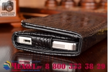 Фирменный роскошный эксклюзивный чехол-клатч/портмоне/сумочка/кошелек из лаковой кожи крокодила для телефона TCL 950. Только в нашем магазине. Количество ограничено