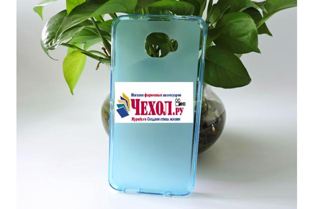 """Фирменная ультра-тонкая силиконовая задняя панель-чехол-накладка для Alcatel One Touch Idol 4S 6070K  5.5"""" голубая"""