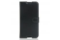 """Фирменный чехол-книжка для Alcatel One Touch Idol 4S 6070K  5.5"""" с визитницей и мультиподставкой черный кожаный"""
