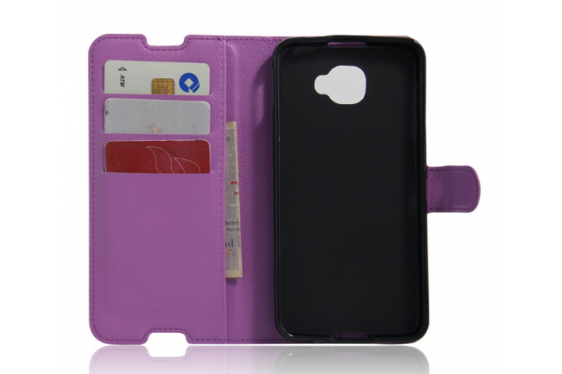 """Фирменный чехол-книжка для  Alcatel One Touch Idol 4S 6070K  5.5"""" с визитницей и мультиподставкой фиолетовый кожаный"""