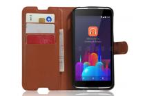 """Фирменный чехол-книжка для  Alcatel One Touch Idol 4S 6070K  5.5"""" с визитницей и мультиподставкой коричневый кожаный"""