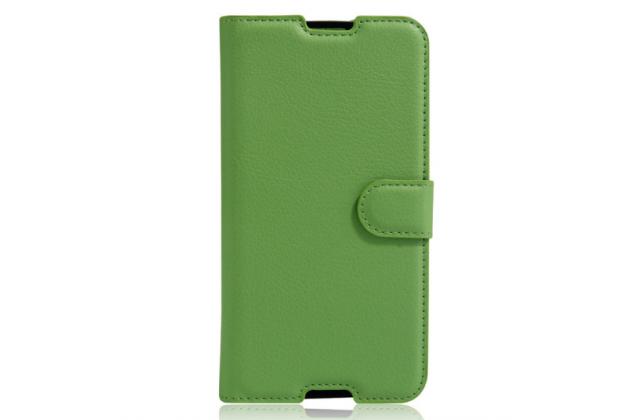 """Фирменный чехол-книжка для Alcatel One Touch Idol 4S 6070K  5.5"""" с визитницей и мультиподставкой зеленый кожаный"""