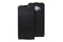 """Фирменный оригинальный вертикальный откидной чехол-флип для Alcatel One Touch Idol 4S 6070K  5.5""""  черный кожаный"""