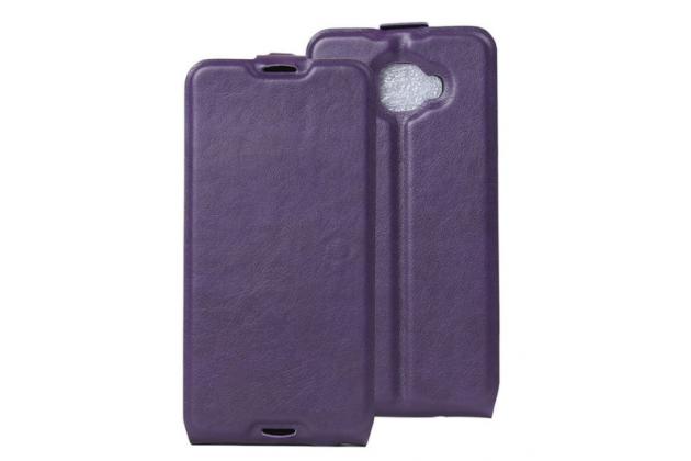 """Фирменный оригинальный вертикальный откидной чехол-флип для Alcatel One Touch Idol 4S 6070K  5.5"""" фиолетовый кожаный"""