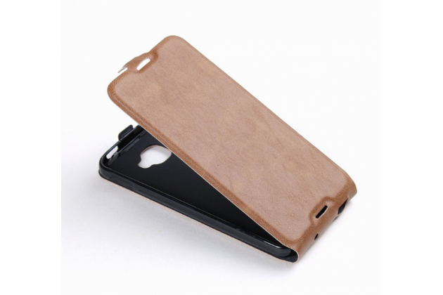 """Фирменный оригинальный вертикальный откидной чехол-флип для Alcatel One Touch Idol 4S 6070K  5.5"""" коричневый кожаный"""