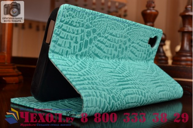 Фирменный чехол-книжка с подставкой для Alcatel One Touch Idol 3 (4.7) / 3 (4.7) Dual Sim 6039Y/K лаковая кожа крокодила цвет морской волны бирюзовый