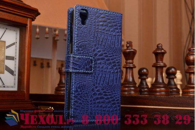 Фирменный чехол-книжка с подставкой для Alcatel One Touch Idol 3 (4.7) / 3 (4.7) Dual Sim 6039Y/K лаковая кожа крокодила цвет темно-синий