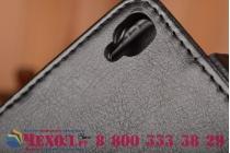 """Фирменный оригинальный вертикальный откидной чехол-флип для Alcatel One Touch Idol 3 (5.5) / 3 (5.5) Dual Sim 6045Y/K черный из натуральной кожи """"Prestige"""" Италия"""