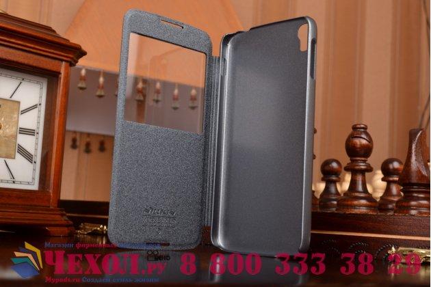 Фирменный чехол-книжка для Alcatel One Touch Idol 3 (5.5) / 3 (5.5) Dual Sim 6045Y/K черный с окошком для входящих вызовов водоотталкивающий