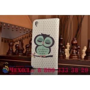 """Фирменный уникальный необычный чехол-книжка для Alcatel One Touch Idol 3 (5.5) / 3 (5.5) Dual Sim 6045Y/K """"тематика Сова"""""""