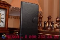 Фирменный чехол-книжка из качественной импортной кожи с мульти-подставкой застёжкой и визитницей для Алкатель Ван Тач Айдол 3 5,5 дуал сми 6035/6045ю/к черный