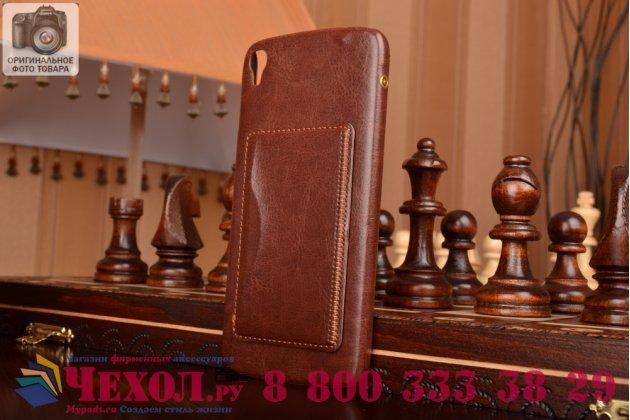 Фирменная роскошная элитная премиальная задняя панель-крышка для Alcatel One Touch Idol 3 (5.5) / 3 (5.5) Dual Sim 6045Y/K из качественной кожи буйвола с визитницей коричневый