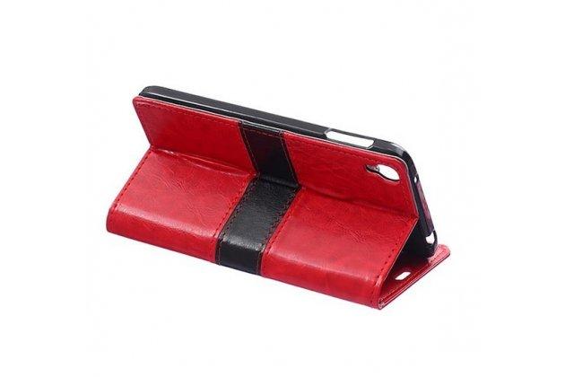 Фирменный чехол-книжка из импортной кожи с мульти-подставкой застёжкой и визитницей для Alcatel One Touch Idol 3 (5.5) / 3 (5.5) Dual Sim 6045Y/K красный с полосой