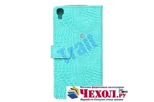 Фирменный чехол-книжка с подставкой для 6045Y/K лаковая кожа крокодила цвет морской волны бирюзовый