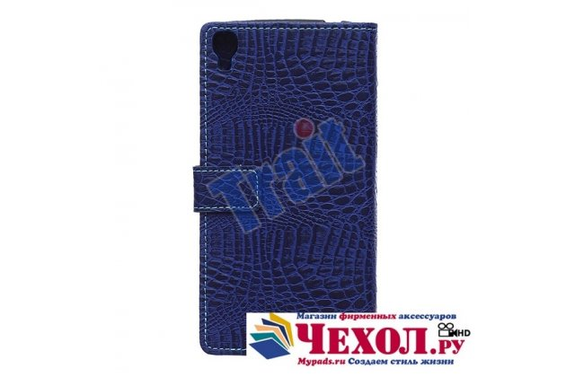 Фирменный чехол-книжка с подставкой для 6045Y/K лаковая кожа крокодила цвет темно-синий