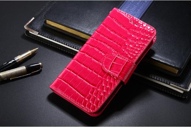 Фирменный чехол-книжка с подставкой для 6045Y/K лаковая кожа крокодила цвет розовый