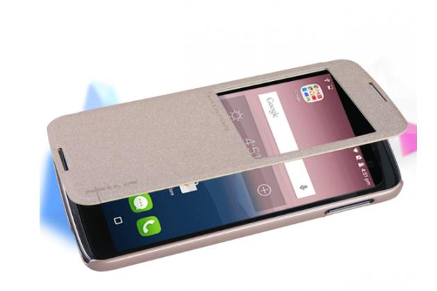 Фирменный чехол-книжка для Alcatel One Touch Idol 3 (5.5) / 3 (5.5) Dual Sim 6045Y/K золотой с окошком для входящих вызовов водоотталкивающий