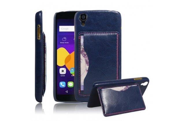 Фирменная роскошная элитная премиальная задняя панель-крышка для Alcatel One Touch Idol 3 (5.5) / 3 (5.5) Dual Sim 6045Y/K из качественной кожи буйвола с визитницей синий