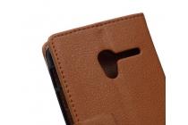 Фирменный чехол-книжка из качественной импортной кожи с мульти-подставкой застёжкой и визитницей для Алкатель / Алкатэль Уан /Ван  Тач Поп (Пикси)3 5015X Икс  коричневый