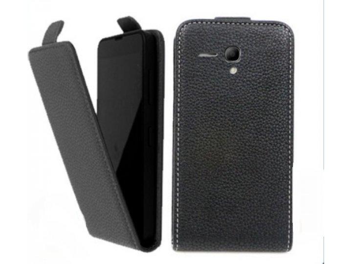 Фирменный оригинальный вертикальный откидной чехол-флип для Alcatel One Touch POP (Pixi) 3 5015X черный из нат..