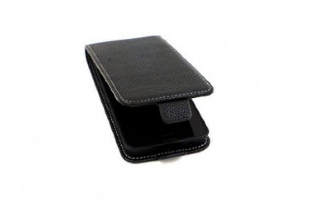 """Фирменный оригинальный вертикальный откидной чехол-флип для Alcatel One Touch POP (Pixi) 3 5015X черный из натуральной кожи """"Prestige"""" Италия"""