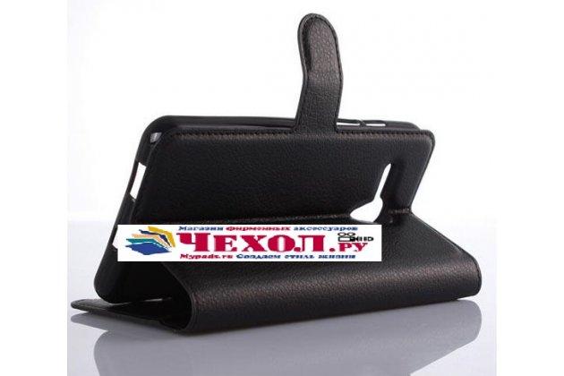Фирменный чехол-книжка из качественной импортной кожи с подставкой застёжкой и визитницей для Alcatel One Touch Fierce XL 5054D / POP 3 5054D черный