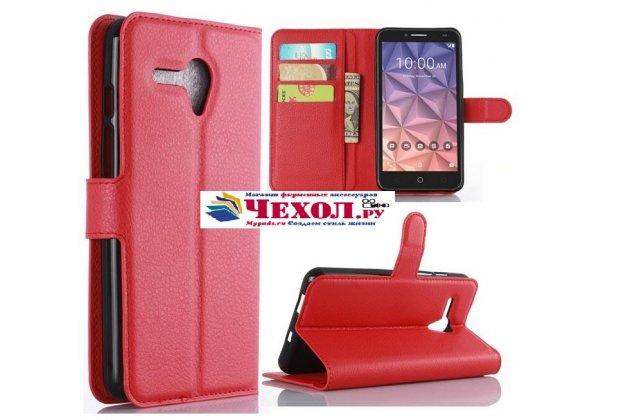 Фирменный чехол-книжка из качественной импортной кожи с мульти-подставкой застёжкой и визитницей для Alcatel One Touch Fierce XL 5054D / POP 3 5054D красный