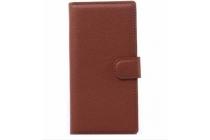 Фирменный чехол-книжка из качественной импортной кожи с подставкой застёжкой и визитницей для Alcatel One Touch Fierce XL 5054D / POP 3 5054D коричневый