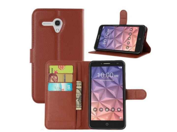 Фирменный чехол-книжка из качественной импортной кожи с подставкой застёжкой и визитницей для Alcatel One Touc..