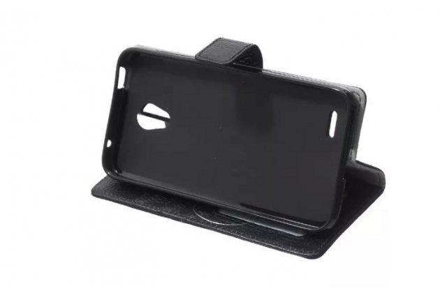 Фирменный чехол-книжка из качественной импортной кожи с подставкой застёжкой и визитницей для Alcatel OneTouch Go Play 7048X черный