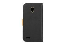 Фирменный чехол-книжка из качественной импортной кожи с мульти-подставкой застёжкой и визитницей для  Alcatel OneTouch Go Play 7048X черный