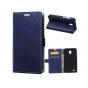 Фирменный чехол-книжка с подставкой для Alcatel OneTouch Go Play 7048X лаковая кожа крокодила темно-синий..