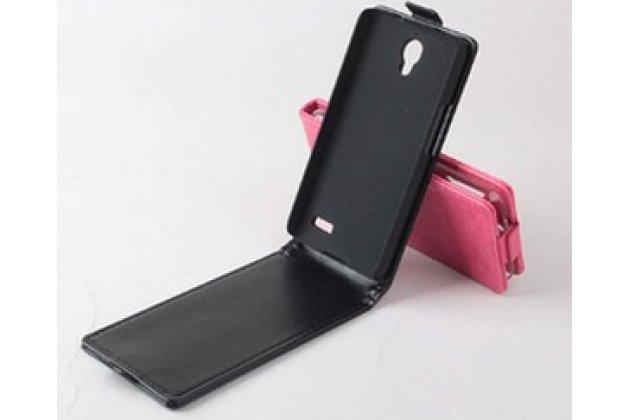 """Фирменный оригинальный вертикальный откидной чехол-флип для Alcatel OneTouch IDOL 6030X черный кожаный """"Prestige"""" Италия"""