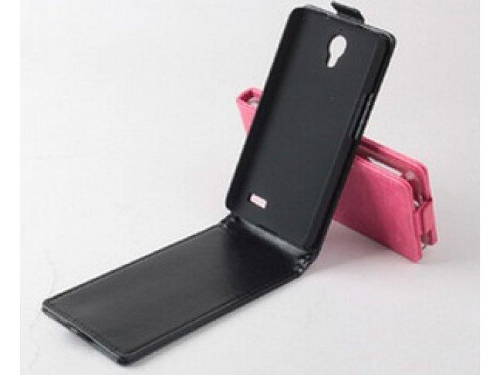 Фирменный оригинальный вертикальный откидной чехол-флип для Alcatel OneTouch IDOL 6030X черный кожаный