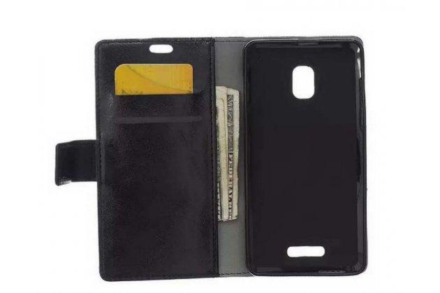 Фирменный чехол-книжка из качественной импортной кожи с подставкой застёжкой и визитницей для Alcatel One Touch POP STAR 5022D черный