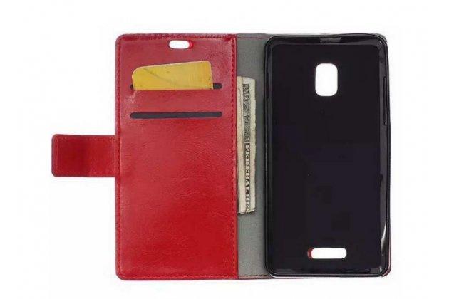 Фирменный чехол-книжка из качественной импортной кожи с мульти-подставкой застёжкой и визитницей для Alcatel One Touch POP STAR 5022D малиновый