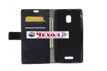Фирменный чехол-книжка с подставкой для Alcatel One Touch POP STAR 5022D лаковая кожа крокодила черный