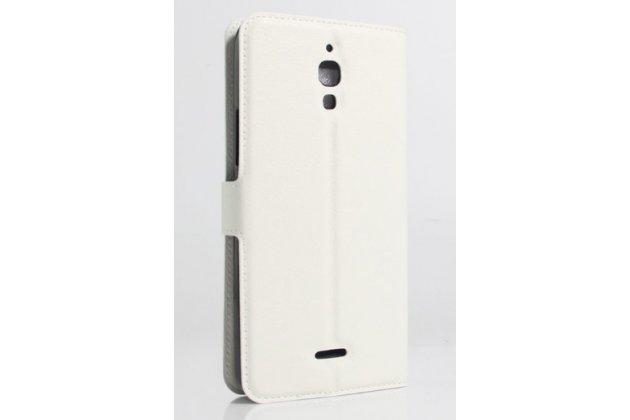 Фирменный чехол-книжка для Alcatel PIXI 4(6) 4G 9001D/F 6.0 с визитницей и мультиподставкой белый кожаный