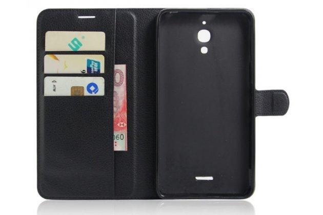 Фирменный чехол-книжка для Alcatel PIXI 4(6) 4G 9001D/F 6.0 с визитницей и мультиподставкой черный кожаный