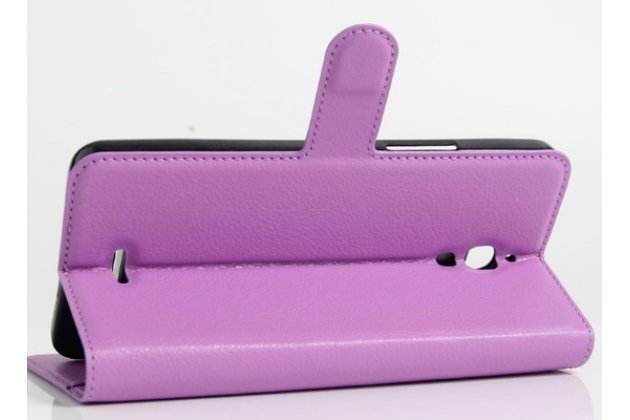 Фирменный чехол-книжка для Alcatel PIXI 4(6) 4G 9001D/F 6.0 с визитницей и мультиподставкой фиолетовый кожаный