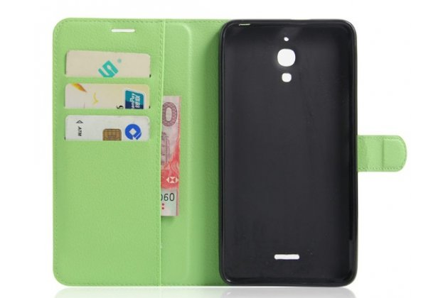 Фирменный чехол-книжка для Alcatel PIXI 4(6) 4G 9001D/F 6.0 с визитницей и мультиподставкой зеленый кожаный