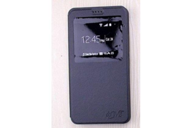 Фирменный оригинальный чехол-книжка для Alcatel PIXI 4(6) 4G 9001D/F 6.0 черный с окошком для входящих вызовов водоотталкивающий