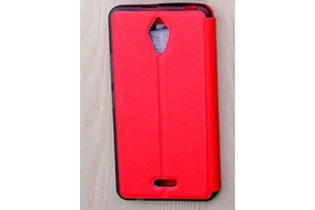 Фирменный оригинальный чехол-книжка для Alcatel PIXI 4(6) 4G 9001D/F 6.0 красный с окошком для входящих вызовов водоотталкивающий