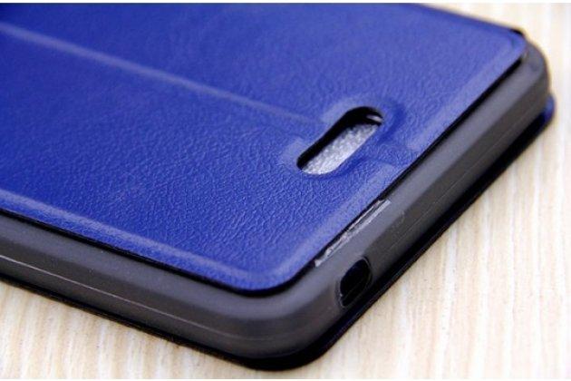 Фирменный оригинальный чехол-книжка для Alcatel PIXI 4(6) 4G 9001D/F 6.0 синий с окошком для входящих вызовов водоотталкивающий
