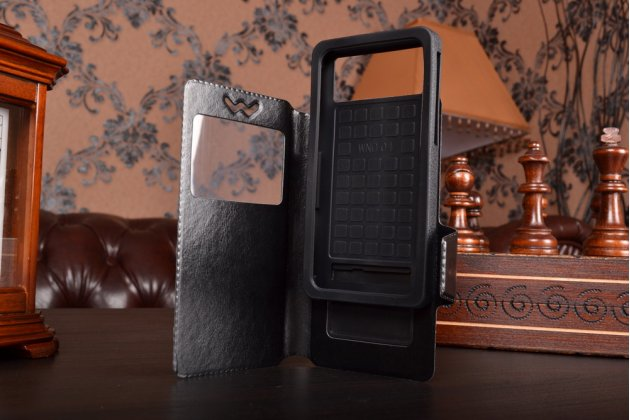 Чехол-книжка для Alcatel POP 4 5051D кожаный с окошком для вызовов и внутренним защитным силиконовым бампером. цвет в ассортименте