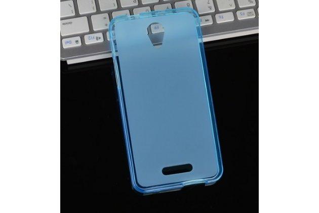 Фирменная ультра-тонкая силиконовая задняя панель-чехол-накладка для Alcatel POP 4 5051D/X 5.0 голубая